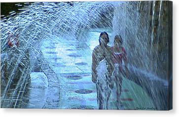 Walking Through The Fountains Canvas Print by Gina Lee Manley