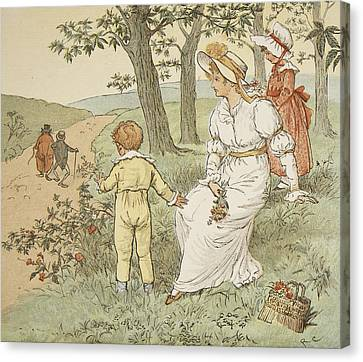 Walking To Mouseys Hall Canvas Print by Randolph Caldecott