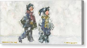Walking To The Rink Canvas Print by David Dossett
