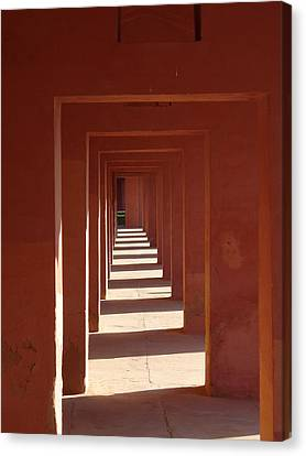 Walkway By The Taj Canvas Print by Bill Mock