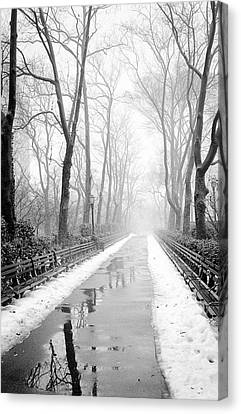 Canvas Print featuring the photograph Walkway Snow And Fog Nyc by Dave Beckerman