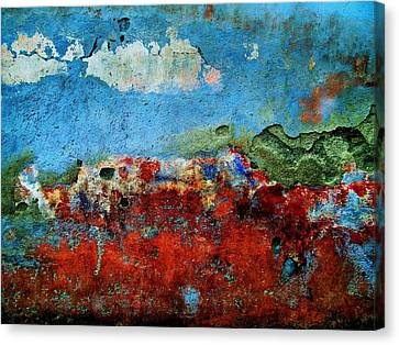 Canvas Print featuring the digital art Wall Abstract 14 by Maria Huntley