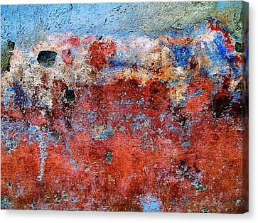 Canvas Print featuring the digital art Wall Abstract 17 by Maria Huntley