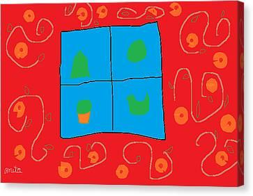 Digital Free Style Canvas Print - Wall Around The Window by Anita Dale Livaditis