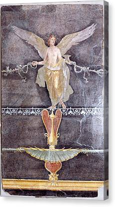Wall  Fragment With Winged Female Nike On Black Ground Canvas Print by Litz Collection