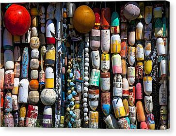 Wall Of Fishing Buoys Canvas Print by Garry Gay