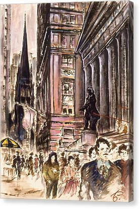 New York Wall Street - Fine Art Painting Canvas Print