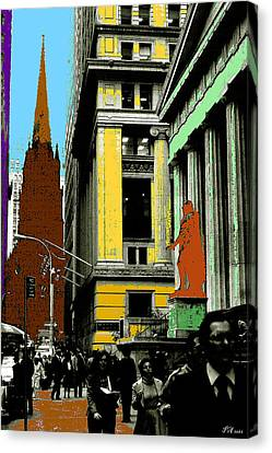 New York Pop Art In Blue Green Red Yellow Canvas Print