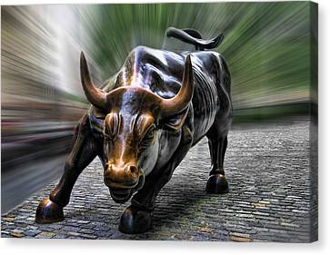 Wall Street Bull Canvas Print by Wes and Dotty Weber