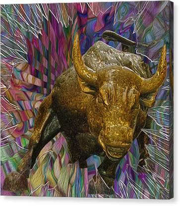 Wall Street Bull 3 Canvas Print by Jack Zulli