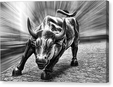 Wall Street Bull Black And White Canvas Print by Wes and Dotty Weber
