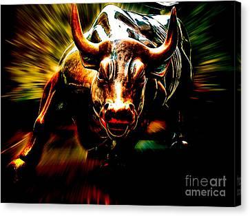 Wall Street Bull Market Canvas Print by Marvin Blaine