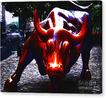 Wall Street Bull - Painterly Canvas Print by Wingsdomain Art and Photography