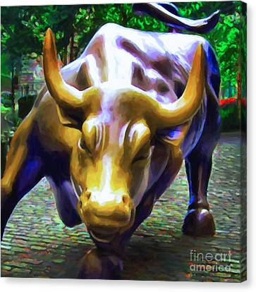 Wall Street Bull V2 - Square Canvas Print by Wingsdomain Art and Photography