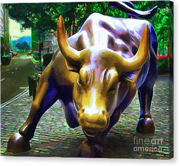 Manhatten Canvas Print - Wall Street Bull V2 by Wingsdomain Art and Photography