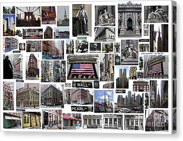 Canvas Print featuring the digital art Wall Street Financial District Collage by Steven Spak