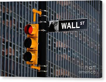 Light Canvas Print - Wall Street Traffic Light New York by Amy Cicconi