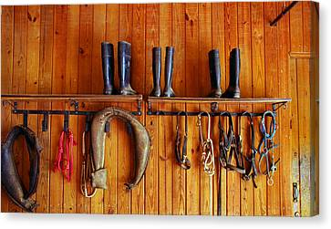 Canvas Print featuring the photograph Wall Tack And Boots by Andy Lawless