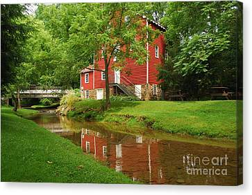Canvas Print featuring the photograph Wallace Cross Grist Mill Reflections by Bob Sample