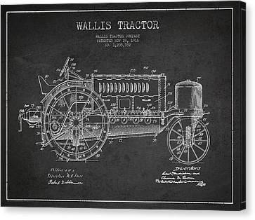 Wallis Tractor Patent Drawing From 1916 - Dark Canvas Print