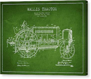 Wallis Tractor Patent Drawing From 1916 - Green Canvas Print