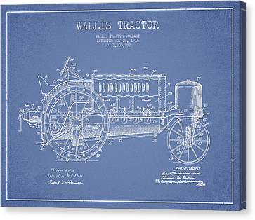 Wallis Tractor Patent Drawing From 1916 - Light Blue Canvas Print