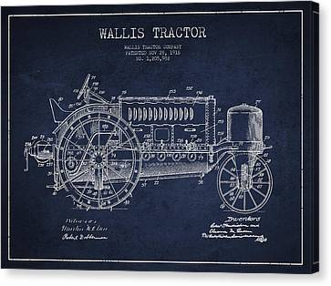 Wallis Tractor Patent Drawing From 1916 - Navy Blue Canvas Print
