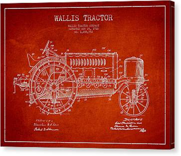 Wallis Tractor Patent Drawing From 1916 - Red Canvas Print by Aged Pixel