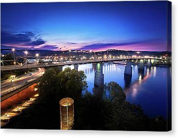 Walnut Street Walking Bridge Bluff View Canvas Print by Steven Llorca