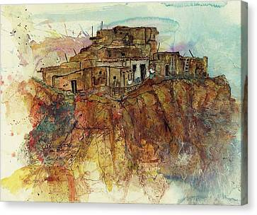Canvas Print featuring the painting Walpi Village First Mesa  Hopi Reservation by Elaine Elliott