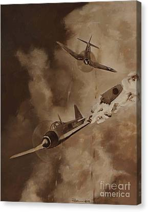 Canvas Print featuring the painting Walsh Scores Another - Grisaille by Stephen Roberson