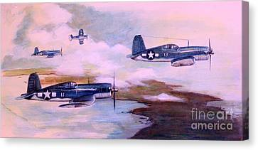 Canvas Print featuring the painting Walsh's Flight Color Study by Stephen Roberson