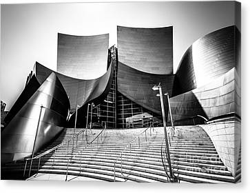 Walt Disney Concert Hall In Black And White Canvas Print by Paul Velgos