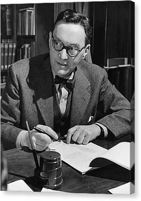 Walter Lippmann Writing At A Desk Canvas Print