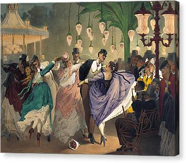 Waltz At The Bal Mabille  Canvas Print by Philippe Jacques Linder