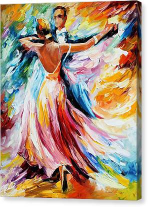 Waltz - Palette Knife Oil Painting On Canvas By Leonid Afremov Canvas Print by Leonid Afremov