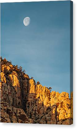 Waning Moon Canvas Print - Waning Gibbous Moon Over The Craggy Peaks Of Red Rock Canyon by Silvio Ligutti