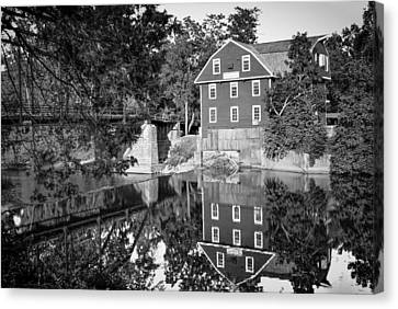 War Eagle Mill And Bridge Black And White Canvas Print by Gregory Ballos