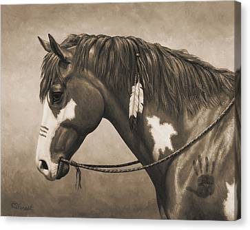 War Horse Aged Photo Fx Canvas Print by Crista Forest