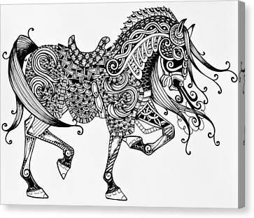 War Horse - Zentangle Canvas Print by Jani Freimann