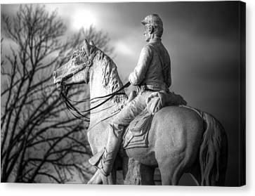 War Horses - 8th Pennsylvania Cavalry Regiment Pleasonton Avenue Sunset Autumn Gettysburg Canvas Print by Michael Mazaika