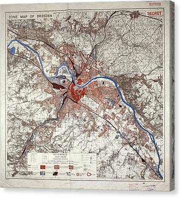 War Map Of Dresden Canvas Print by British Library