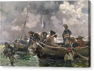 War Scene At Sea Canvas Print by Paul Emile Boutigny