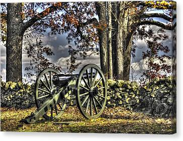 Canvas Print featuring the photograph War Thunder - Lane's Battalion Ross's Battery-a1 West Confederate Ave Gettysburg by Michael Mazaika