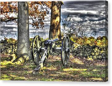Canvas Print featuring the photograph War Thunder - Lane's Battalion Ross's Battery-b2 West Confederate Ave Gettysburg by Michael Mazaika
