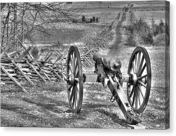 Canvas Print featuring the photograph War Thunder - Poague's Battalion Brooke's Va Battery West Confederate Avenue Gettysburg by Michael Mazaika