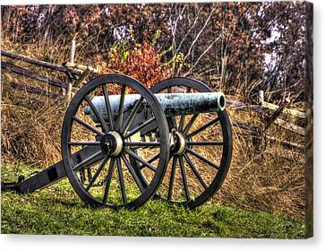 Canvas Print featuring the photograph War Thunder - The Morris Artillery Page's Battery Oak Hill Gettysburg by Michael Mazaika