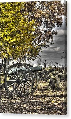 Canvas Print featuring the photograph War Thunder - The Purcell Artillery Mc Graw's Battery-a2 West Confederate Ave Gettysburg by Michael Mazaika