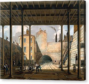 Warehouses Etc At The End Of The Tunnel Canvas Print by Thomas Talbot Bury