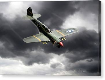 P-40 Canvas Print - Warhawk by Peter Chilelli